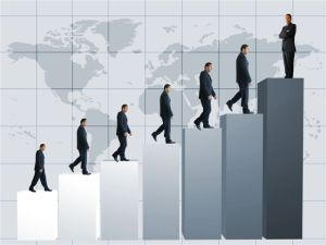 business men climbing a graph with one confident business man on top